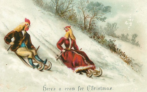 Victorian Christmas Card featuring chicken-headed sledders