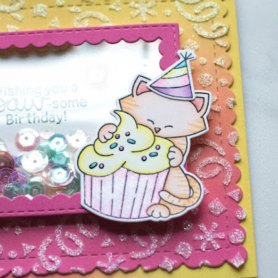 Paw-Some Shaker Birthday Cards by June Guest Designer Amy Tollner | Newton Loves Cake Stamp Set, Confetti Stencil, Framework Die Set, and Frames & Flags Die Set by Newton's Nook Designs #newtonsnook #handmade
