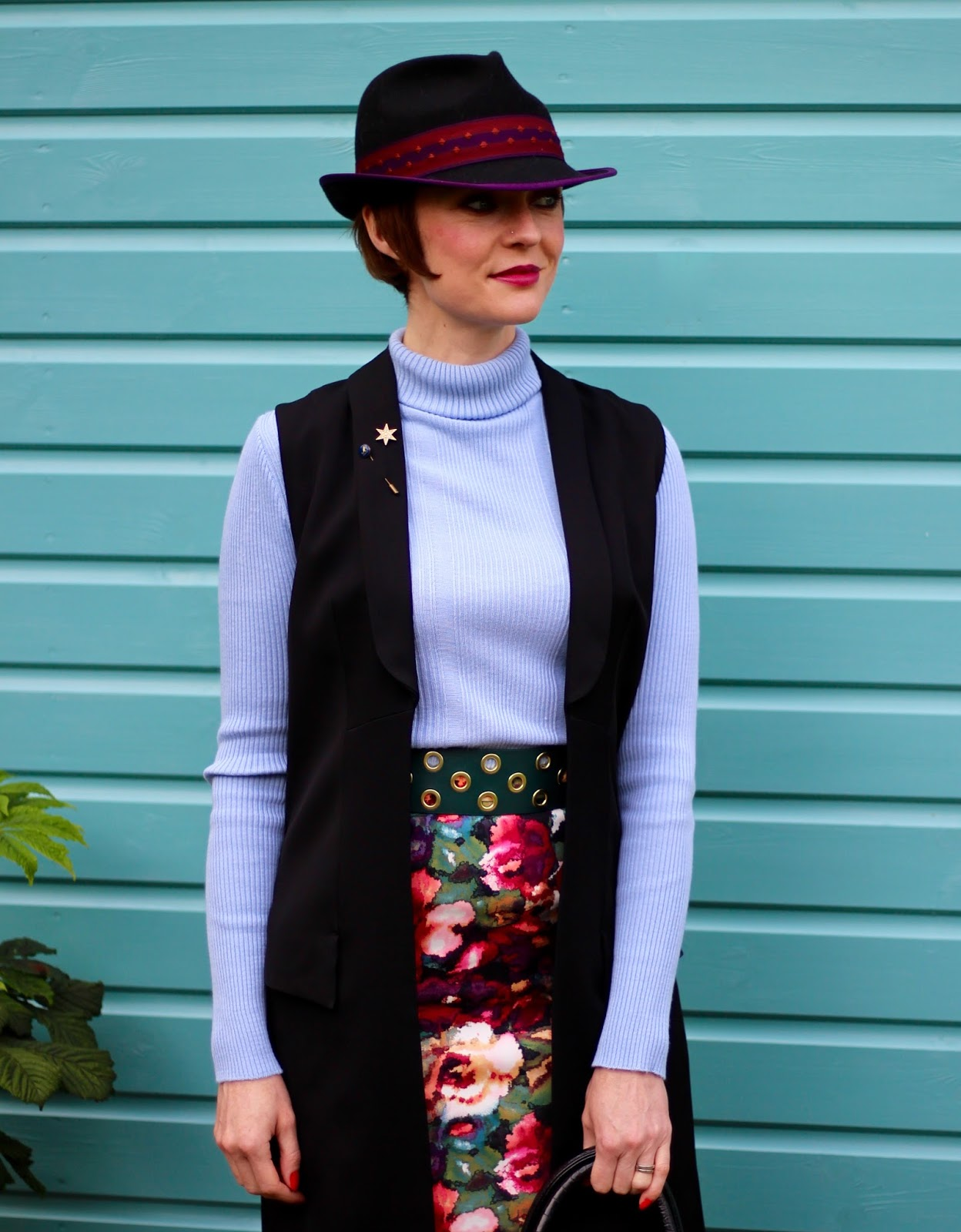 Fake Fabulous | Christys Trilby, floral pencil skirt, sleeveless jacket, patent vagabond boots | Hats
