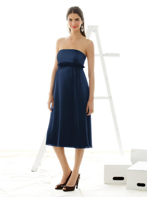 Perfect Navy Blue Tea-length Sleeveless Ruffle Empire Waist Maternity Bridesmaid Dress