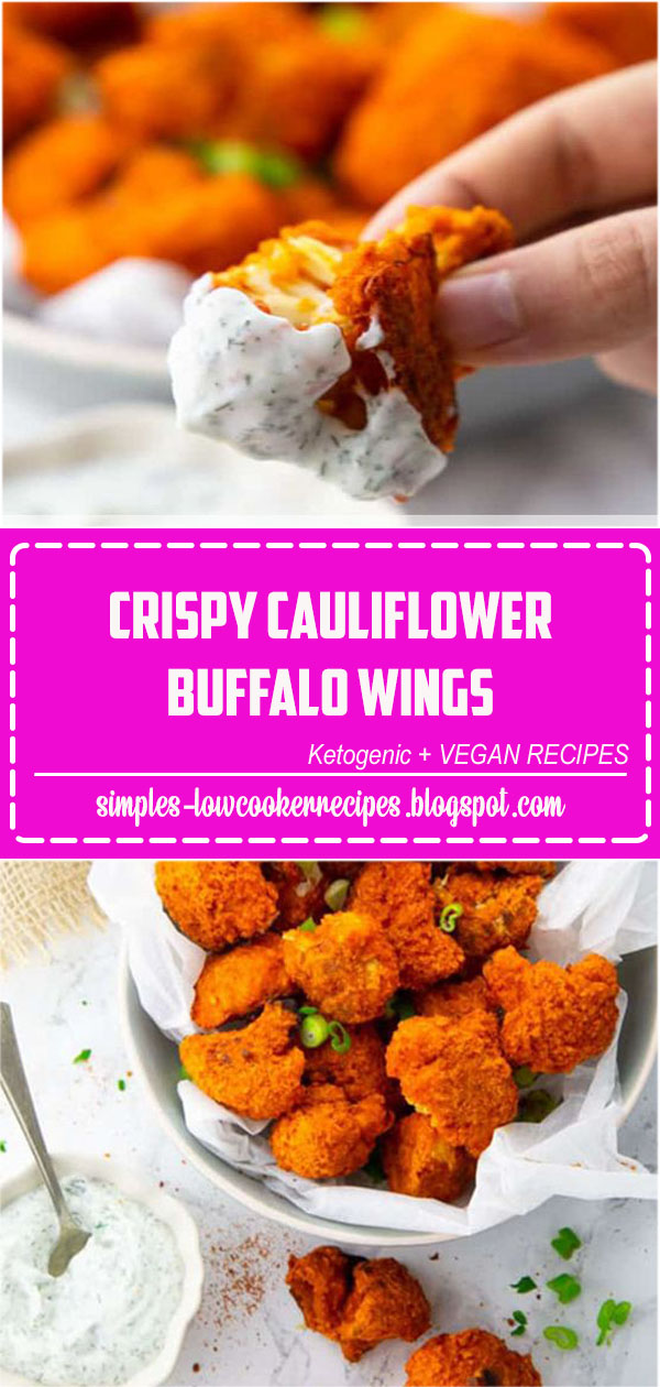 These cauliflower buffalo wings with vegan ranch dip are the perfect vegan comfort food! They make such a great snack or appetizer as well! Find more vegan recipes at #vegan#veganrecipes