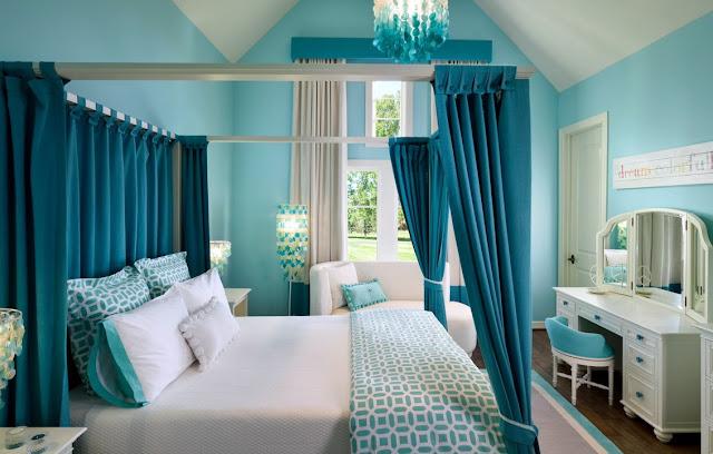 бирюзовые шторы в спальню