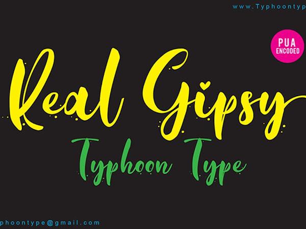 Real Gipsy Romantic Brush Font