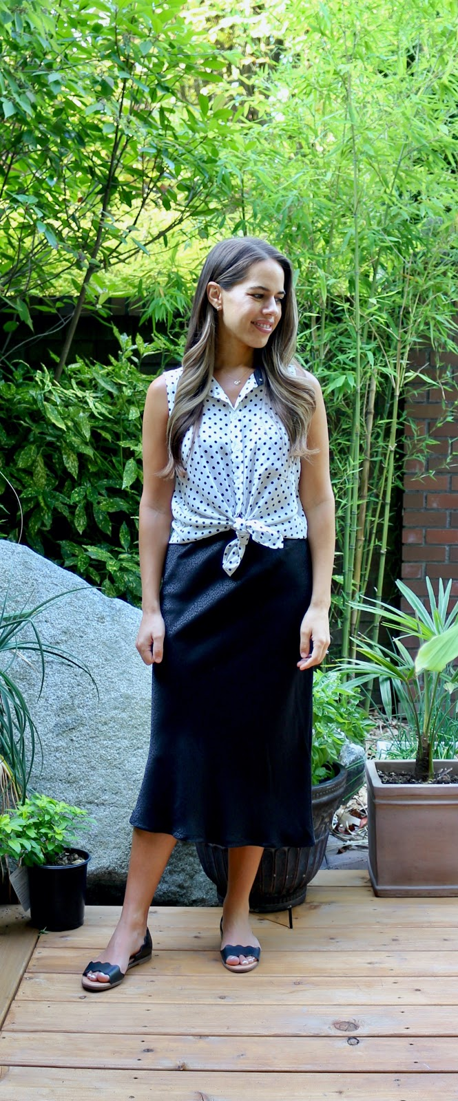 Jules in Flats - Sleeveless Polka Dot Top + Midi Skirt (Business Casual Workwear on a Budget)