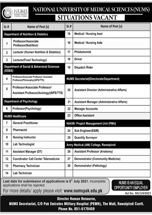 National University Of Medical Science NUMS Jobs 2021