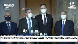 Os presidentes do Senado e Câmara Federal, Lira e Pacheco  e o Ministro Paulo Guedes,  acertam auxílio emergencial e aprovação de pauta fiscal