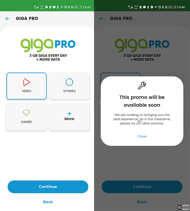 Giga Pro listing on the Smart Communications app