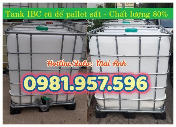 Tank nhựa IBC cũ, bồn nhựa trắng 1000L, bồn nhựa vuông 1000L