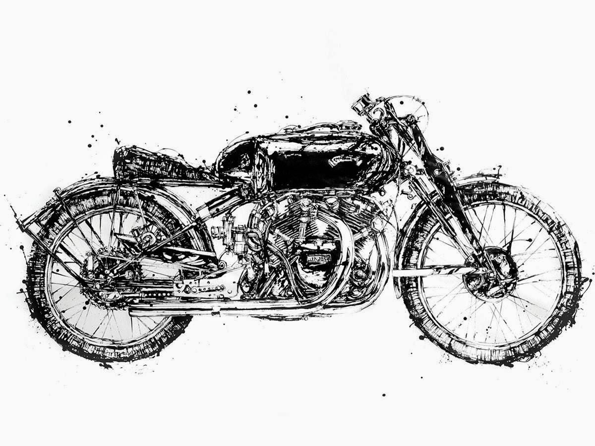bike makoto motorcycle paintings endo shadow vincent amazing illustration ink were kustom wired chopsticks these makato racing 1949