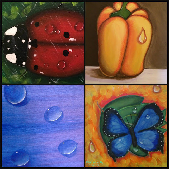 rain droplets, gotas de lluvia, pintura acrílica en canvas, pintura acrílica, acrylic painting on canvas, butterfly, yellow pepper, ladybug, blue droplets