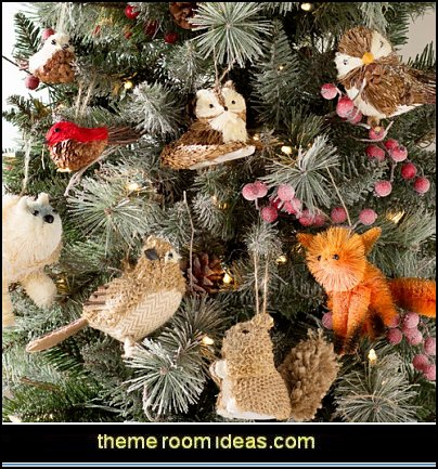 Natural Fiber Holiday Bird 2 Piece Ornament Set