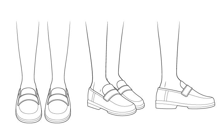 Sepatu sekolah anime menggambar