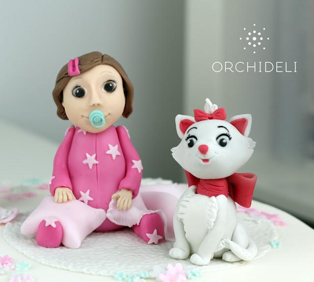 tort z dziewczynką i kotkiem na roczek