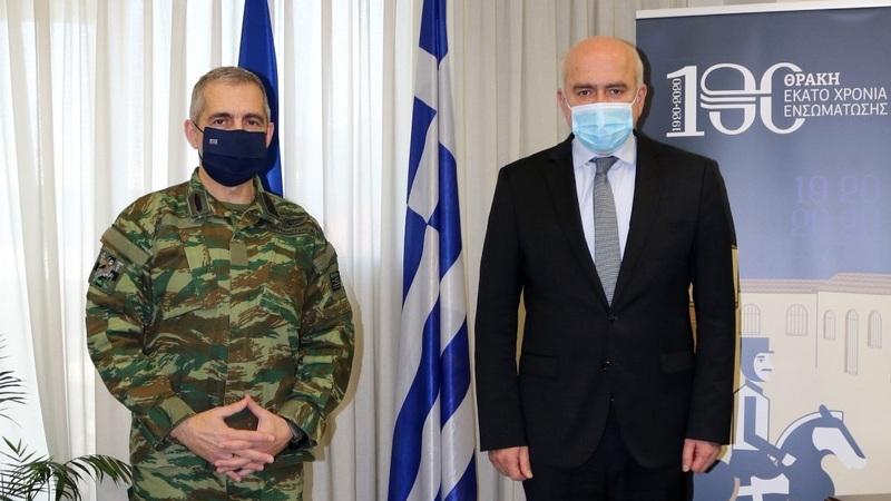 Εθιμοτυπική επίσκεψη του νέου Διοικητή του Δ' Σώματος Στρατού στον Περιφερειάρχη ΑΜ-Θ