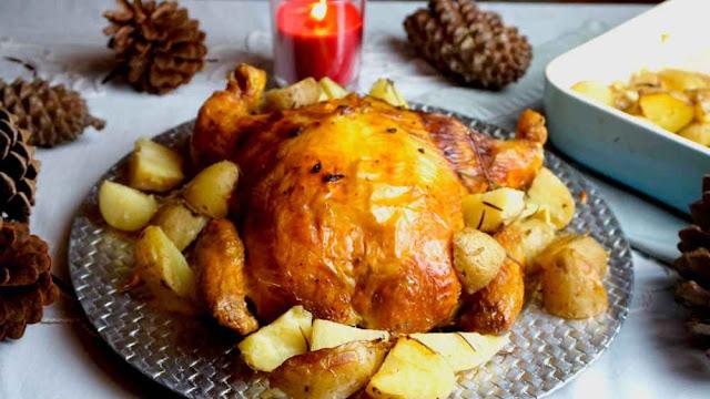 Pollo relleno de navidad con jamón,bacon y queso