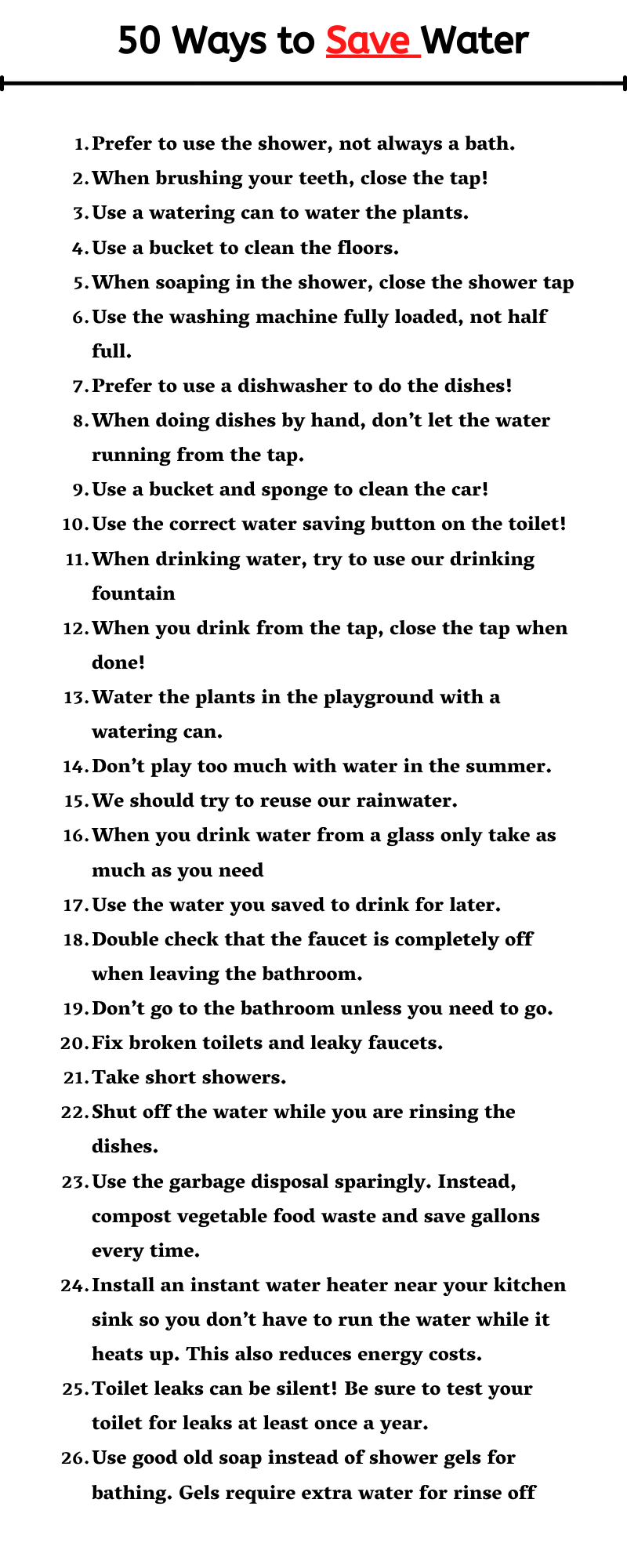 50 Ways to Save Water