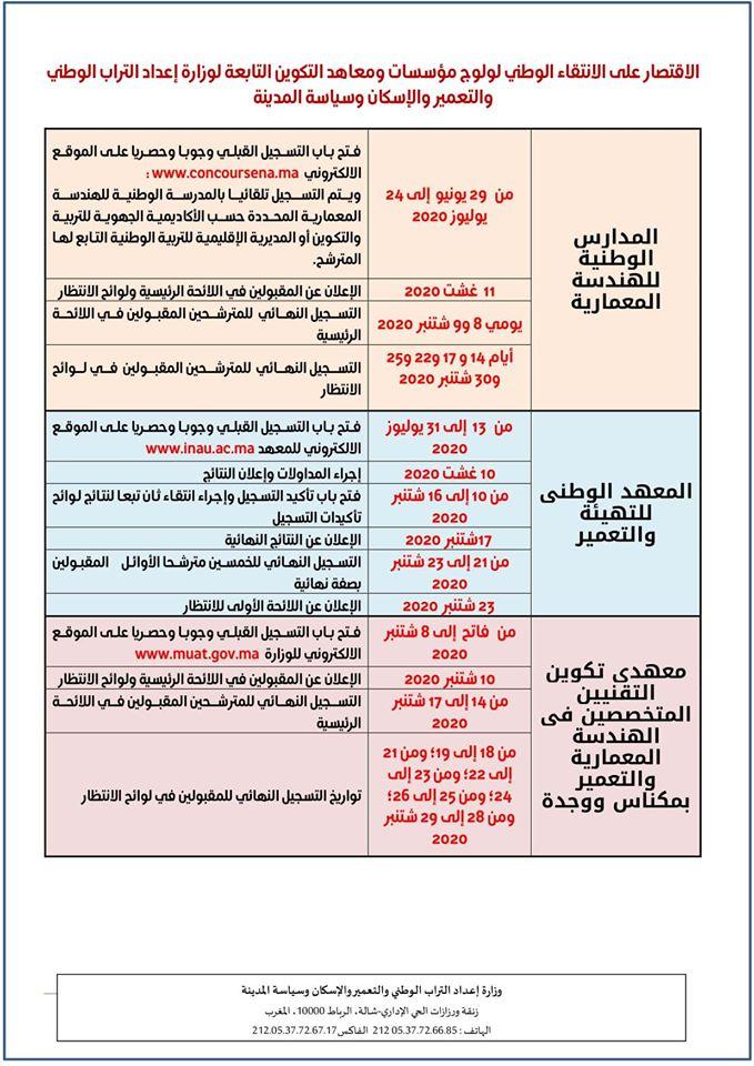 التسجيل مؤسسات و معاهد التكوين التابعة لوزارة إعداد التراب الوطني و التعمير و الإسكان و  سياسة المدينة