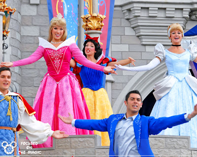 Disney Princesses castle court stage show Focused on the Magic
