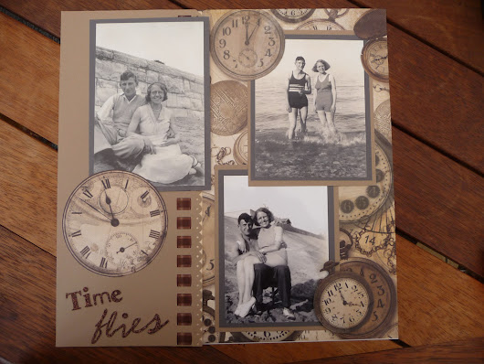 Time flies, vintage scrapbook page