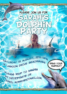 Dolphin Party Personalized Invitation with photo