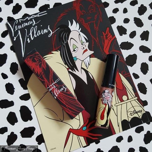 MAC Cruella De Vil themed lipgloss and box on Cruella postcard and spotty background