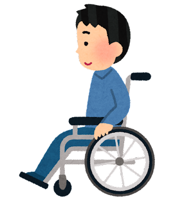 横から見た車椅子に乗る人のイラスト(男性)