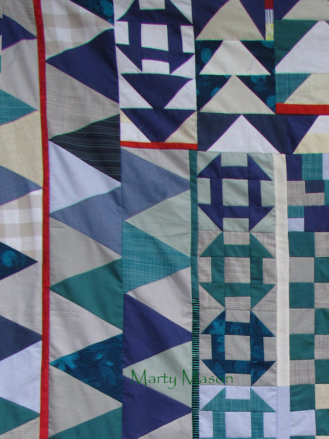 blue homespun - improvisational quilt top finished by Marty Mason