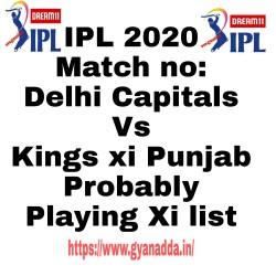 IPL 2020, DC Vs KXIP कुछ इस तरह से हो सकता दिल्ली और पंजाब के प्लेइंग इलेवन और पिच रिपोर्ट।