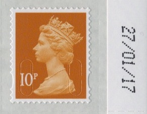 10p Machin sheet stamp M17L with plain backing paper.
