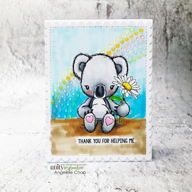 ScrappyScrappy: Help Australia with Unity Stamp - Cuddlebug Koala #scrappyscrappy #unitystampco #helpaustralia #australiawildfires #weloveaustralia #koala #koalabear #cardmaking #papercraft #youtube #quicktipvideo #cuddlebugkoala #nuvojeweldrops #copicmarkers #ginamariedie