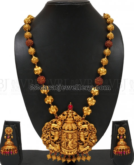 Spinal Ruby Balls Long Set with Krishna Locket