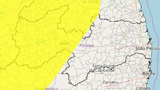 Inmet emite alerta de chuvas intensas para mais de 90 cidades da Paraíba; veja lista
