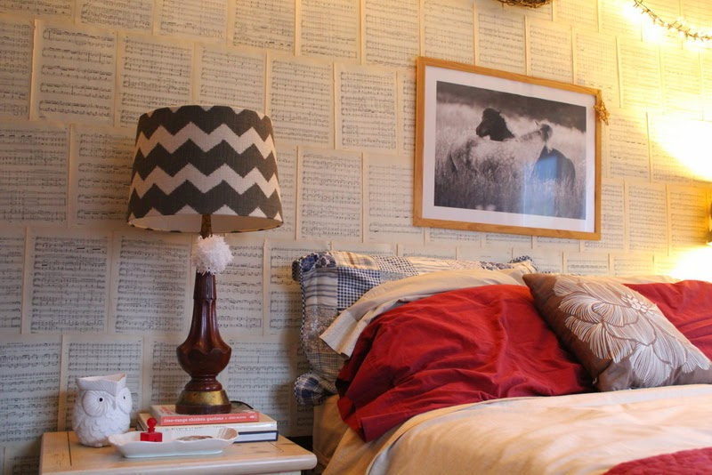 Pretty, quick and easy way to update a room on a tiny budget using book pages, thrifted and sale finds. check out this mini Master Bedroom update.