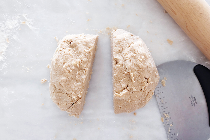 lightly kneaded dough into a ball then cut in half