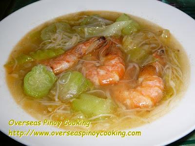 Patola Misua Soup with Prawns