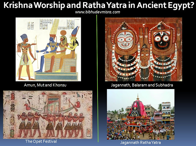 The Theban and Puri triad of deities are symbolically equivalent, while the Ratha Yatra festival of Puri is identical in form and spirit to the Opet festival of Ancient Egypt