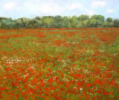 oleo sobre lienzo, campo de amapolas, 46x38 cms