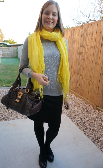 winter colourful yellow scarf grey embellished knit jumper and pencil skirt outfit | away from blue