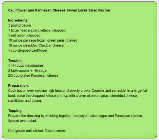 Cauliflower and Parmesan Cheese Seven Layer Salad Recipe