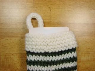 knit, knitting, mini, small, stocking, pattern, Christmas, white, green