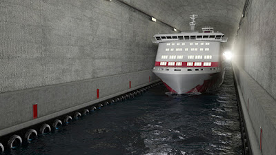 Rendering of a large passenger ferry passing through Norway's Canal Tunnel.