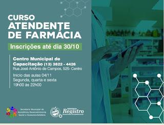 Prefeitura de Registro-SP oferece qualificação gratuita com o curso de Atendente de Farmácia