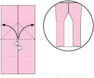 Bước 4: Từ vị trí 2 mũi tên trắng, kéo và mở tờ giấy ra