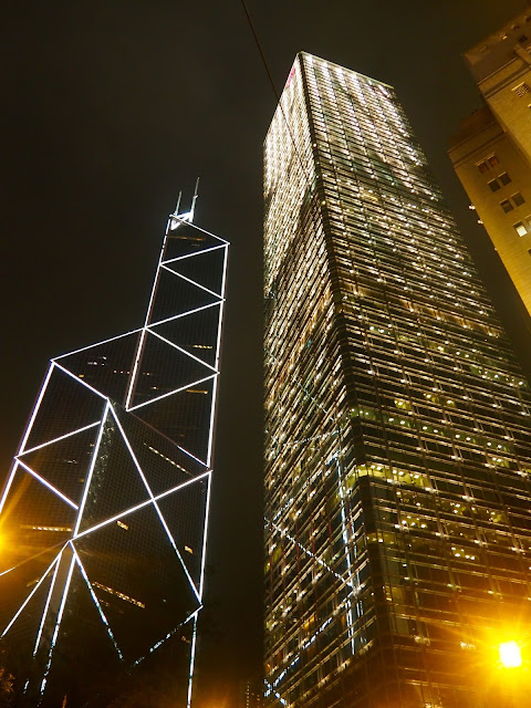 Bank of China building and Cheung Kong Center at night, Central, Hong Kong