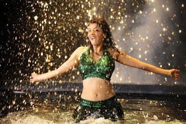 Kajal Agarwal Hot Navel Show In Green Wet Dress Pictures