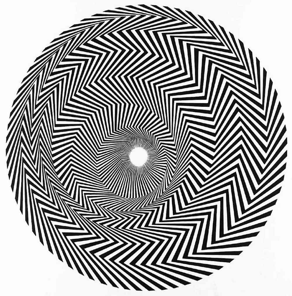 Bridget Riley art, spiraling zigzags