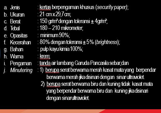 Spesifikasi kertas Blangko Ijazah