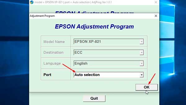 Resetting Epson XP-821
