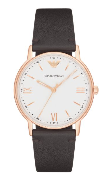 Emporio Armani Dress Kappa Leather Strap Watch