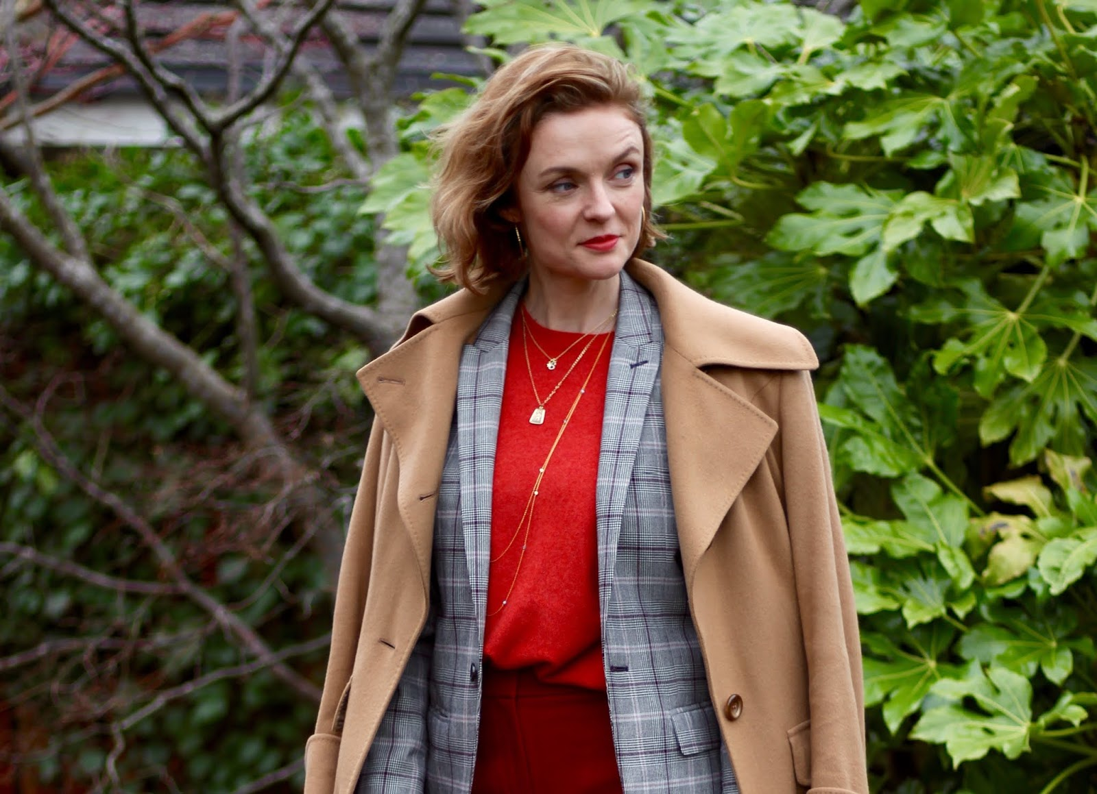 Camel and Red | Layering a Coat over a Blazer | Winter Outfit